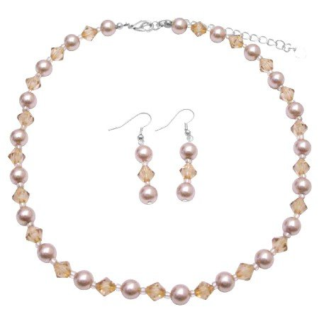 NS984  Inexpensive Jewelry Set Champagne Pearls And Colorado Crystals