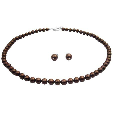 NS986  Are You Looking For Wedding Jewelry Deep Brown Set