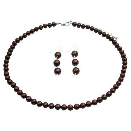 NS988  Brown Pearls Bridemaids Set Dangling Earrings Sterling Silver Jewelry