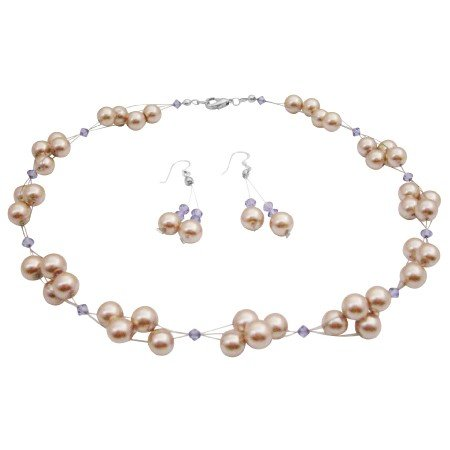 NS991  Interwoven Jewelry Set Champagne Pearls & Swarovski Tanzanite Crystals