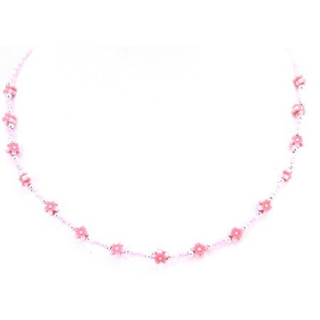 GC155 Multicolored Flower Beads Necklace Girls Affordable Necklace White Necklace