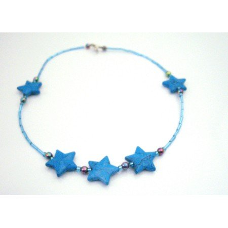 GC157  Turquoise Stars Beads Necklace Blue Pipe Necklace Beautiful Inexpensive Necklace