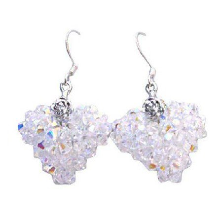 ERC505  Handmade Puffy Heart Crystals Earrings AB Swarovski Crystals Puffy Heart Earrings