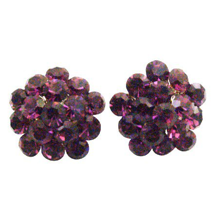 ERC675  Highlight Your Natural Beauty With Sparkling Amethyst Crystals Flower Earrings