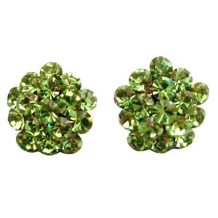 ERC676  Green Flower Earrings Sparkling Crystals Dazzling And Sparkling