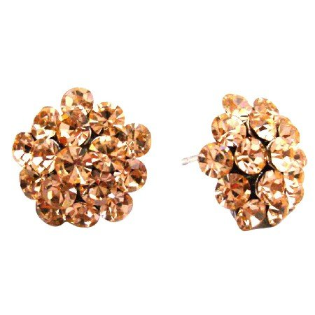 ERC677  Peach Sparkling Crystals Stud Flower Earrings