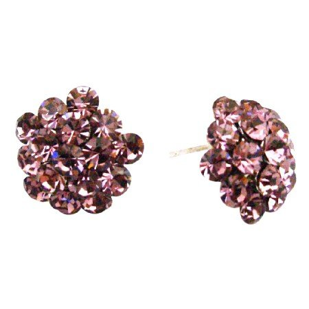 ERC681  Inexpensive Holiday Gift Buy Sparkling Crystals Flower Earrings
