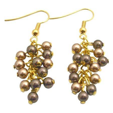 ERC682  Gold 22k Plated Earrings Bronze and Brown Wedding Earrings