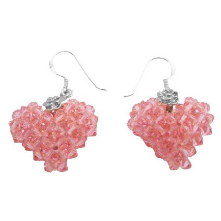 ERC684  Inspired By The Young Hollywood Swarovski Crystals Lite Rose Puffy 3D Heart Earrings