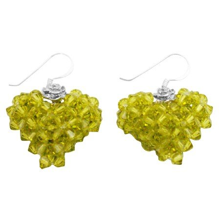 ERC685  Swarovski Crystals Olivine Green Handwoven 3D Puffy Heart Earrings