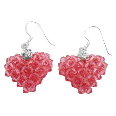 ERC686  Holiday Gift To Your Luv One Puffy Heart Genuine Rose Crystals Sterling Silver Earrings