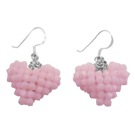 ERC687  Handmade Puffy Heart Earrings Rose Alabaster Baby Pink Candy Pastel Color