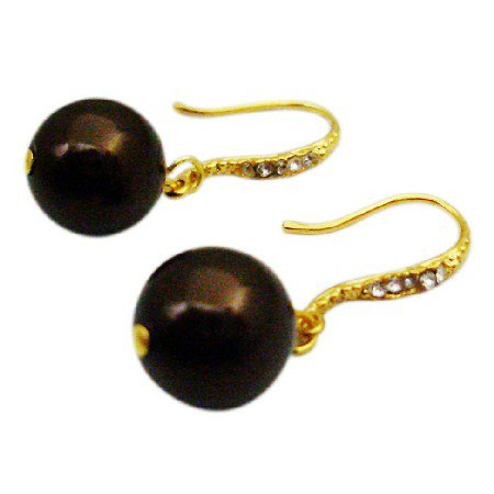 ERC692  Match Jewelry Darkest Chocolate Brown Pearls Wedding Dress Pearls Earrings