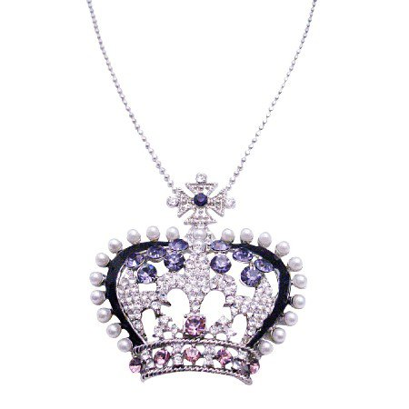 N926  Crown Rhinestones Pendant Long Necklace 26 Inches