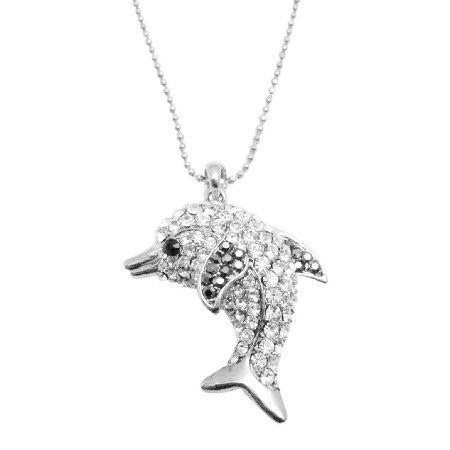 N927  Cubic Zircon Dolphin Pendant Long Necklace Sparkling Gift