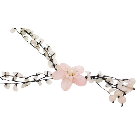 N932  This Classy Rose Quartz Flower Necklace Has Fine Pink Holiday Gift
