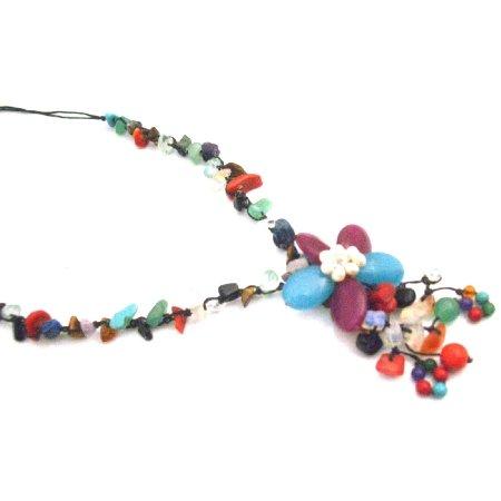 N935  Multicolor Nugget Fashion Jewelry Flower Tassel Stylish Classy Necklace