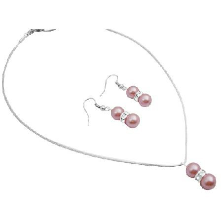 NS010  Array Of Pearls Wedding Pageant Bridemaids Prom Jewelry Beautiful In Pink