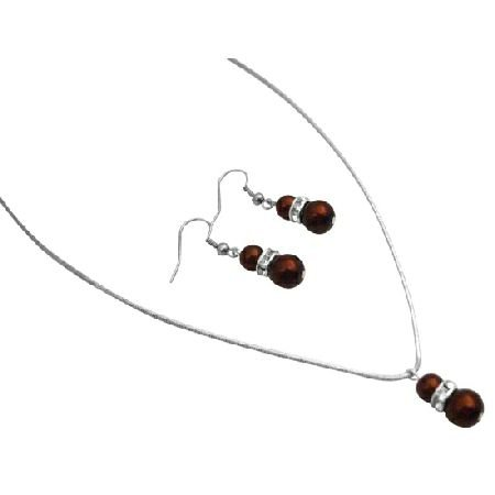 NS013  Beautiful Inexpensive Unique Jewelry Burnt Brown Pearls Set