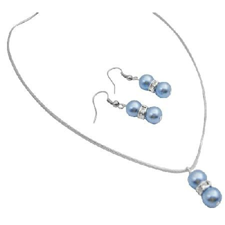 NS014  Cool Blue Jewelry With Silver Rondells Spacer Jewelry Set