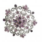 B204  Amethyst Round Brooch Sparkling Amethyst Crystals Light & Dark Crystals Swirly Gift Brooch
