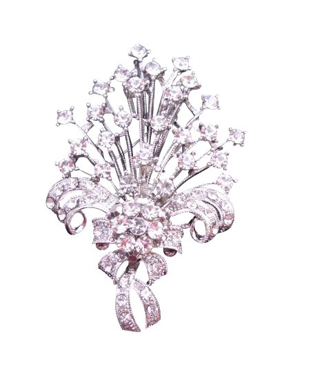 B167 Bouquet Diamond Brooch Fully Embedded w/ SIMULATED Diamond Bouquet BROOCH