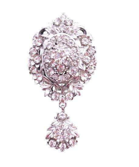 B164  Sparkling Diamond Brooch Simulated Diamond Dangling Brooch w/ Cubic Zircon Brooch