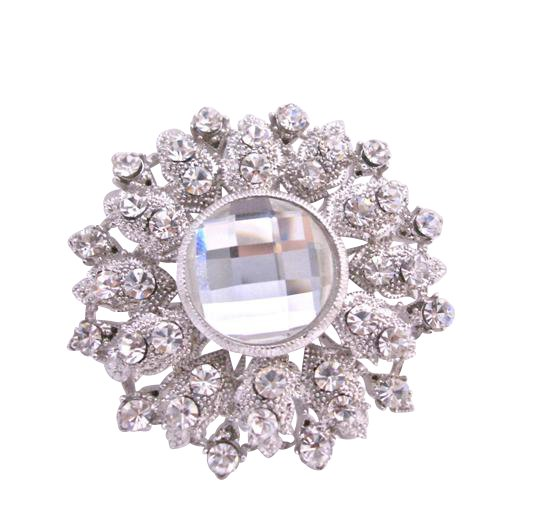 B174 Bridal Brooch Silver Casting Artistically Designed Brooch w/Cubic Zircon & Crystals At Center