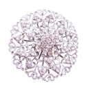 B165  Wedding Sparkling Brooch Bridal Brooch Silver Casting Round Fully Embedded w/ Cz