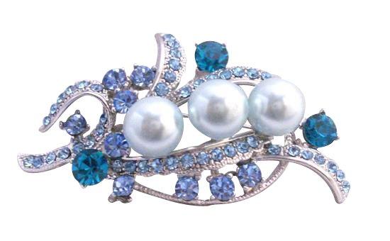B259  Blue Pearls Brooch Aquamarine Crystals Brooch Silver Brooch Bridal Dress Brooch