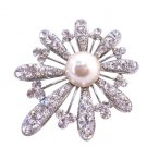B286  Classically Shaped Fan Flower Brooch Fully Embedded w/ Rhinestones & Pearls At Center