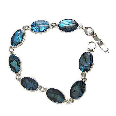TB681  Oval Blue Abalone Shell Bracelet