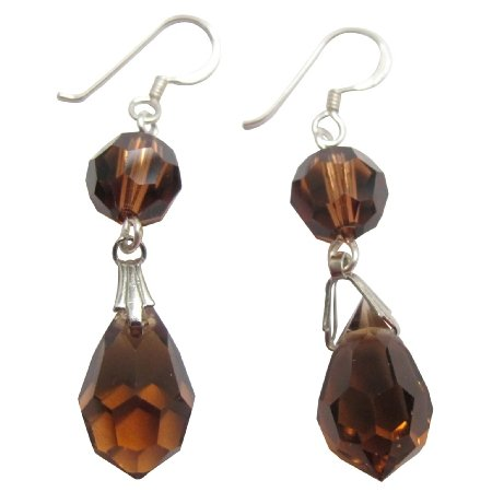 ERC182  Genuine Swarovski Smoked Topaz Crystals Ball & Teardrop 92.5 Sterling Silver Earrings
