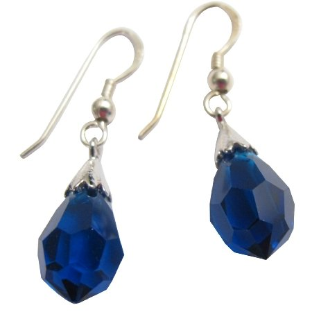 ERC234  Genuine 925 Sterling Silver Czech Lite Sapphire Crystals Teardrop Earrings