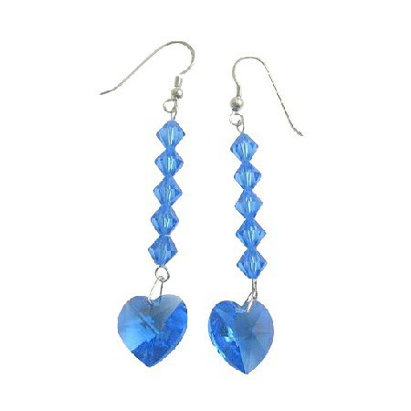 ERC403  Swarovski Crystals Heart Earrings Lite Sapphire Crystals Beads Dangling Earrings