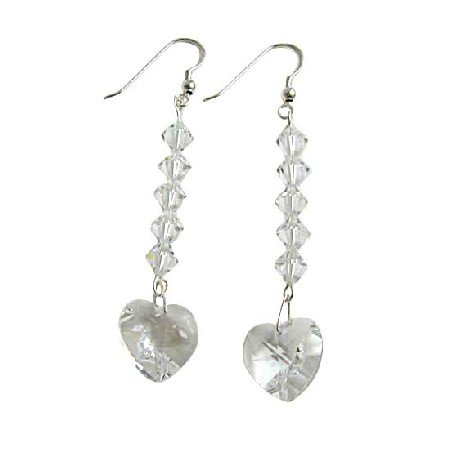 ERC406  Clear Swarovski Heart Crystals Chandelier Earrings Genuine Swarovski & Sterling Silver