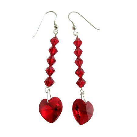 ERC404  Red Crystals Heart Earring Swarovski Crystals Red Heart & Crystals Bead Sterling Silver