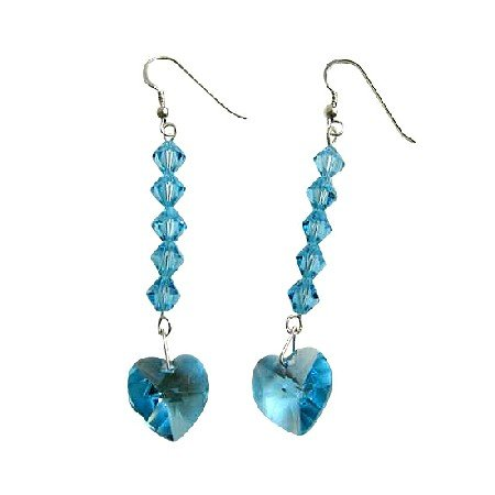ERC407  Aquamarine Sparkling Crystals Earrings Genuine Swarovski Crystals Aquamarine Heart Earrings
