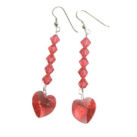 ERC405  Swarovski Crystals Heart Earrings Genuine Crystals Beads Dangling Earrings Sterling Silver