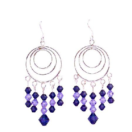 ERC569  Voilet Crystals Mix With Purple Velvet Chandelier Multi Round Framed Hook Earrings