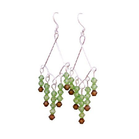 ERC503  Peridot Swarovski Crystals Earrings w/ Smoked Topaz Sterling Silver Earrings