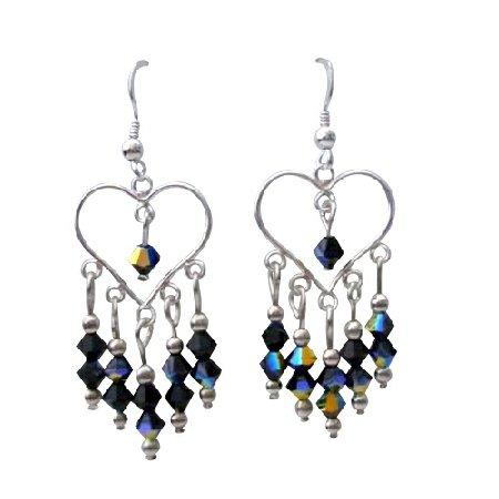 ERC270  Sterling Silver Heart Earrings w/ Genuine AB Jet Swarovski Crystals Earrings