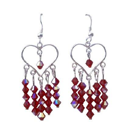 ERC271  AB Siam Swarovski Crystals Heart Jewelry Sterling Silver Heart Chandelier Earrings