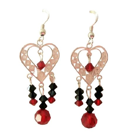 ERC285  Sterling SIlver Heart Chandelier Earrings w/ Genuine Swarovski Crystals