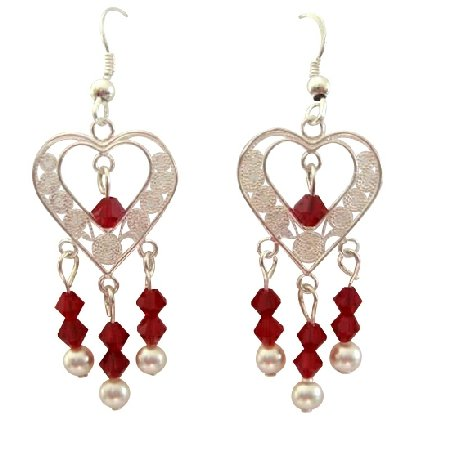 ERC281  Heart Silver Chandelier w/ Siam Red Crystals & White Pearls & Sterling Silver Earrings