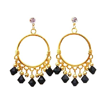 ERC325  Black Jet Swarovski Crystals Chandelier 22k Gold Plated Chandelier Earrings