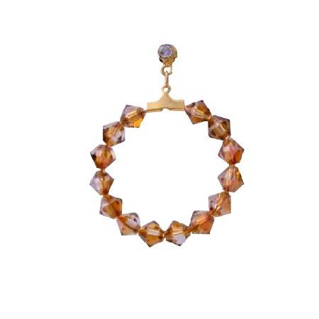 ERC297  Copper Swarovski Crystals Hoop Earrings Swarovski Crystals 22k Gold Plated Earrings