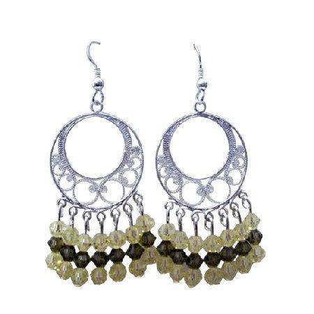 ERC269  Jonquil Swarovski Crystals Sterling Silver 92.5 Chandelier Earrings