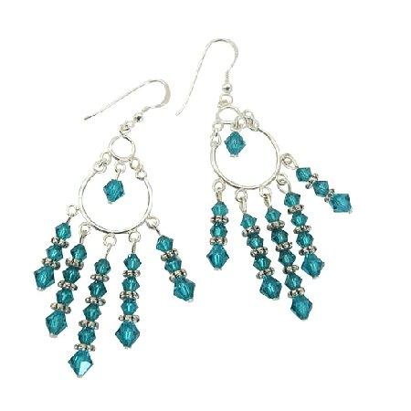 ERC255  Blue Zircon Crystals Chandelier Earrings w/ Genuine Sterling Silver & Swarovski Crystals
