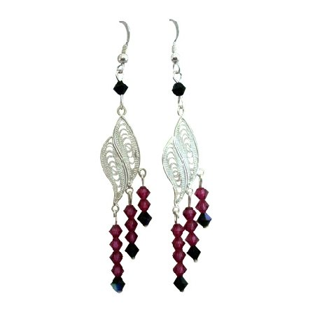 ERC174 Swarovski Fuschia & Jet Crystals & Genuine Sterling Silver Leaf Chandelier Earrings